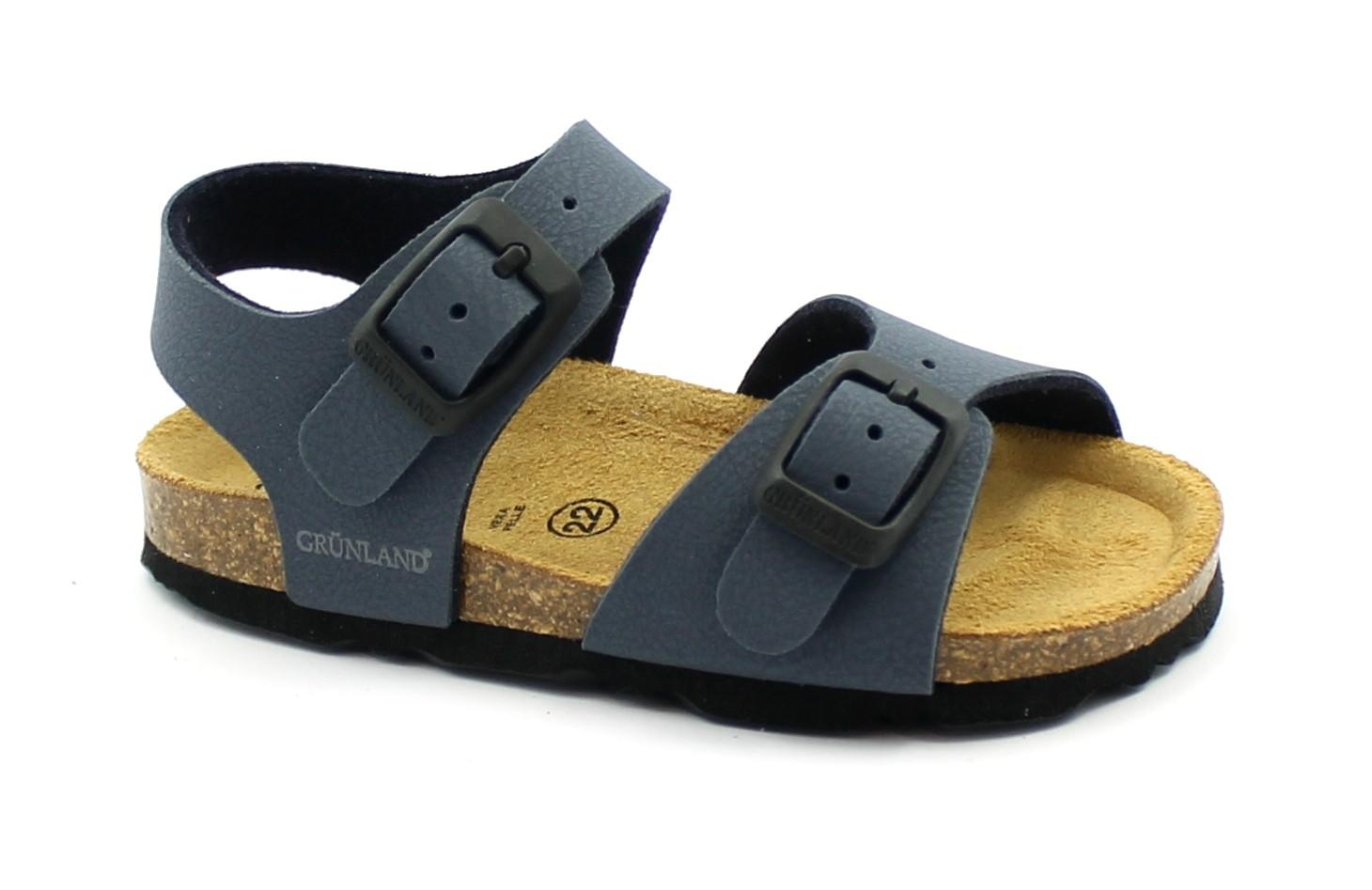 GRUNLAND ARIA SB0025 blu scarpe sandalo bambino fibbie birk
