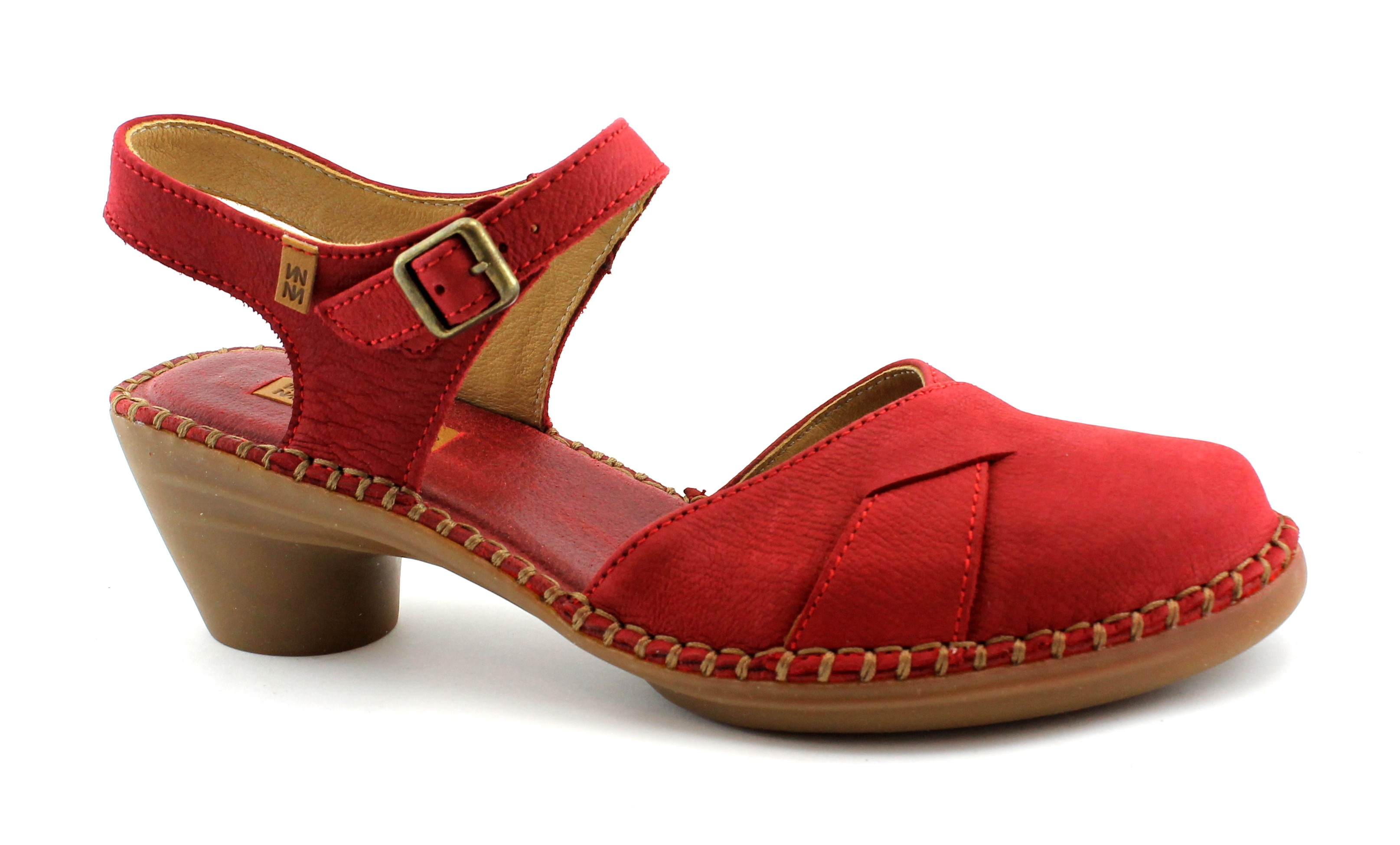 EL NATURALISTA 5324 AQUA tibet rosso sandalo donna tacco cinturino punta chiusa