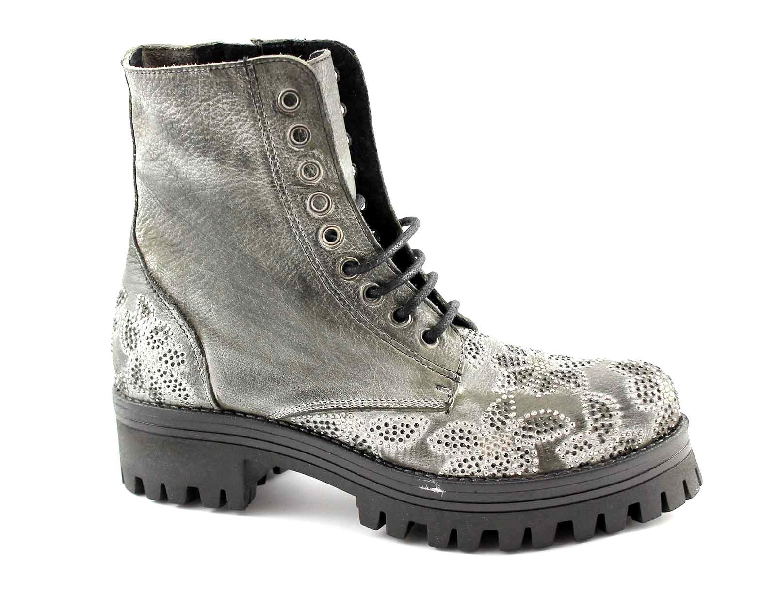 CAFè scarpe scarponcini donna brillantini GF134 grigio NOIR anfibio pSzMqUV