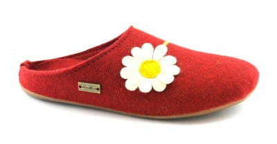 HAFLINGER EVEREST 48312142 paprika rosso pantofole donna con fiore in vera lana