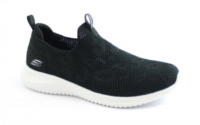 SKECHERS 149009 FAST TALKER black white nero scarpe donna slip on sportive