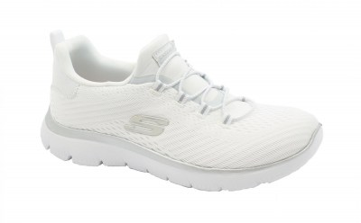 SKECHERS 149036 fast attraction white bianco scarpe donna slip on memory foam