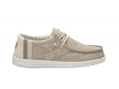 HEY DUDE WALLY Linen Uomo sneakers lacci cotone lino estive traspiranti vegan shoes
