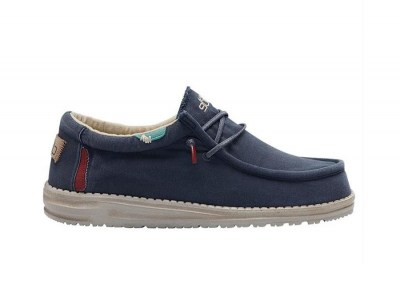 HEY DUDE WALLY Washed Uomo sneakers lacci cotone estive traspiranti
