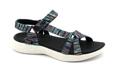 SKECHERS 140013 ELECTRIC black nero multicolore scarpe donna sandali strappo