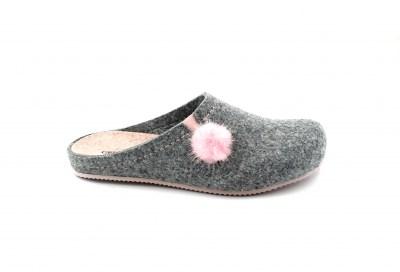 nuovo economico negozio online un'altra possibilità GRUNLAND EURO CB1668 cenere cipria grigio rosa ciabatte donna feltro pompon