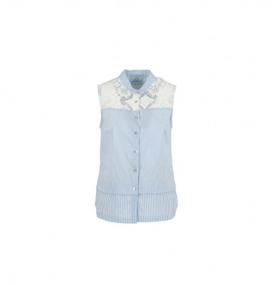 21379a41d17a45 CAFè NOIR JC651 azzurro camicia donna smanicata righe pizzo