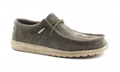 HEY DUDE WALLY SUEDE TAN beige scarpe uomo mocassino lacci camoscio light