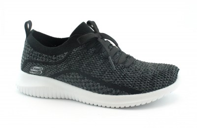 SKECHERS 12841 STATEMENTS black gray nero scarpe donna slip on elastici