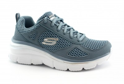 SKECHERS 13310 FASHION FIT PERFECT MATE slate ardesia grigio scarpe donna lacci