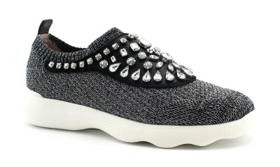 UNISA ELOISE black nero scarpe donna sneakers slip on strass elastico