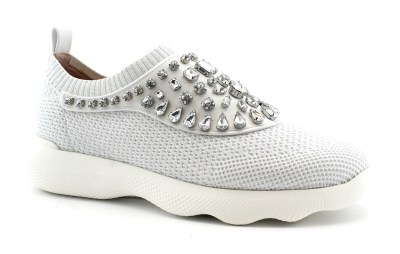 UNISA ELOISE white bianco scarpe donna sneakers slip on strass elastico