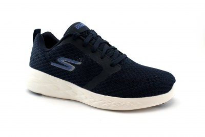 SKECHERS 55098 GO RUN navy white blu scarpe uomo lacci air cooled