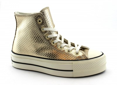 CONVERSE 566507C light gold oro scarpe donna alte zeppa mid lacci all star