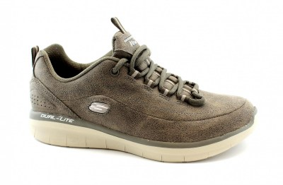 SKECHERS 12934 COMFY UP dark taupe grigio scarpe donna sneakers lacci memory foam