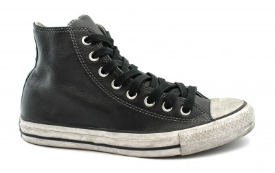 CONVERSE 165859C CTAS LEATHER LTD black white nero scarpe uomo sneakers alte lacci pelle