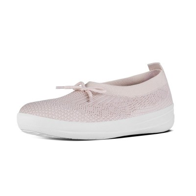 Fitflop ÜBERKNIT TM SLIP-ON BALLERINA WITH BOW - NEON BLUSH/WITH es