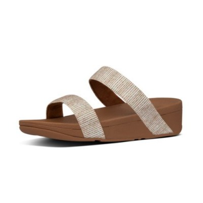 Fitflop LOTTIE GLITTER STRIPE SLIDES - STONE