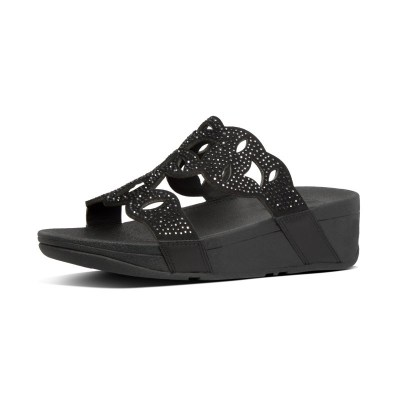Fitflop ELORA CRYSTAL SLIDES - ALL BLACK