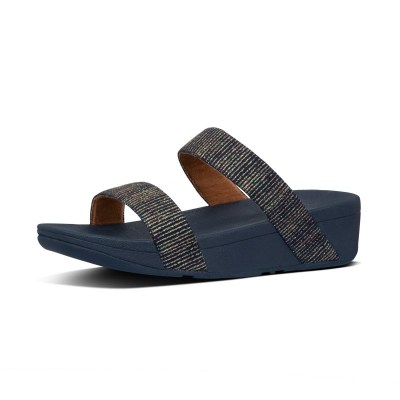 Fitflop LOTTIE GLITTER STRIPE SLIDES - MIDNIGHT NAVY