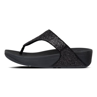 Fitflop LULU GLITTER TOE THONGS - BLACK GLITTER