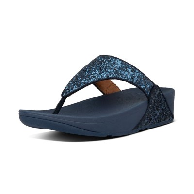 Fitflop LULU GLITTER TOE THONGS - MIDNIGHT NAVY
