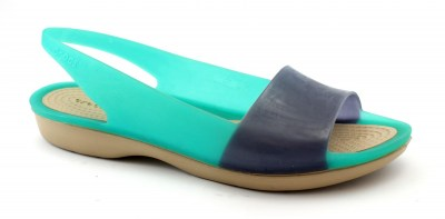 CROCS COLORBLOCK FLAT W tropical teal nautical navy sandalo donna gomma