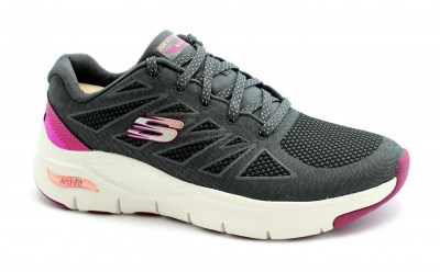 SKECHERS 149411 ARCH FIT charcoal pink scarpe donna lacci comfort