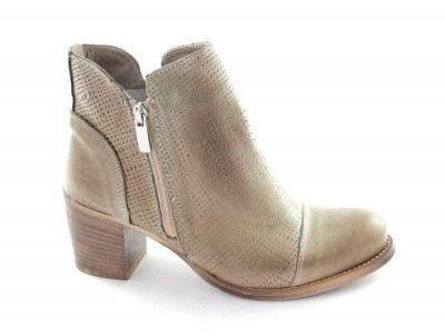 MADE IN ITALY K94 taupe scarpe donna stivaletto puntale doppia zip tacco