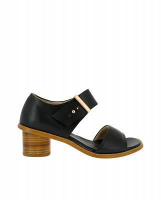 Neosens S970 RESTORED SKIN EBONY / TINTILLA Sandals With Heel Woman Black Buckle