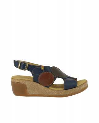 El Naturalista N5608T CROSS NAVY / LEAVES Sandalo Con Zeppa Donna Blu Fibbia