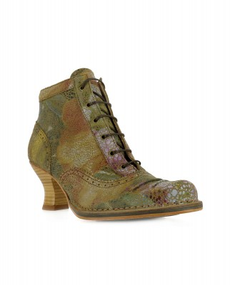 Neosens S865 FANTASY FLORAL TAUPE/ ROCOCO Ankle Boots With Heel Woman  Laces