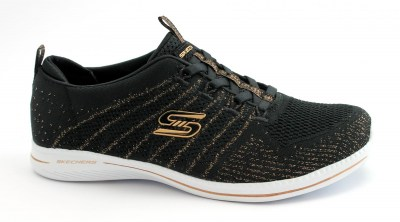 SKECHERS 104015 BKRG GLOW ON black rose gold nero scarpe donna slip on elastici