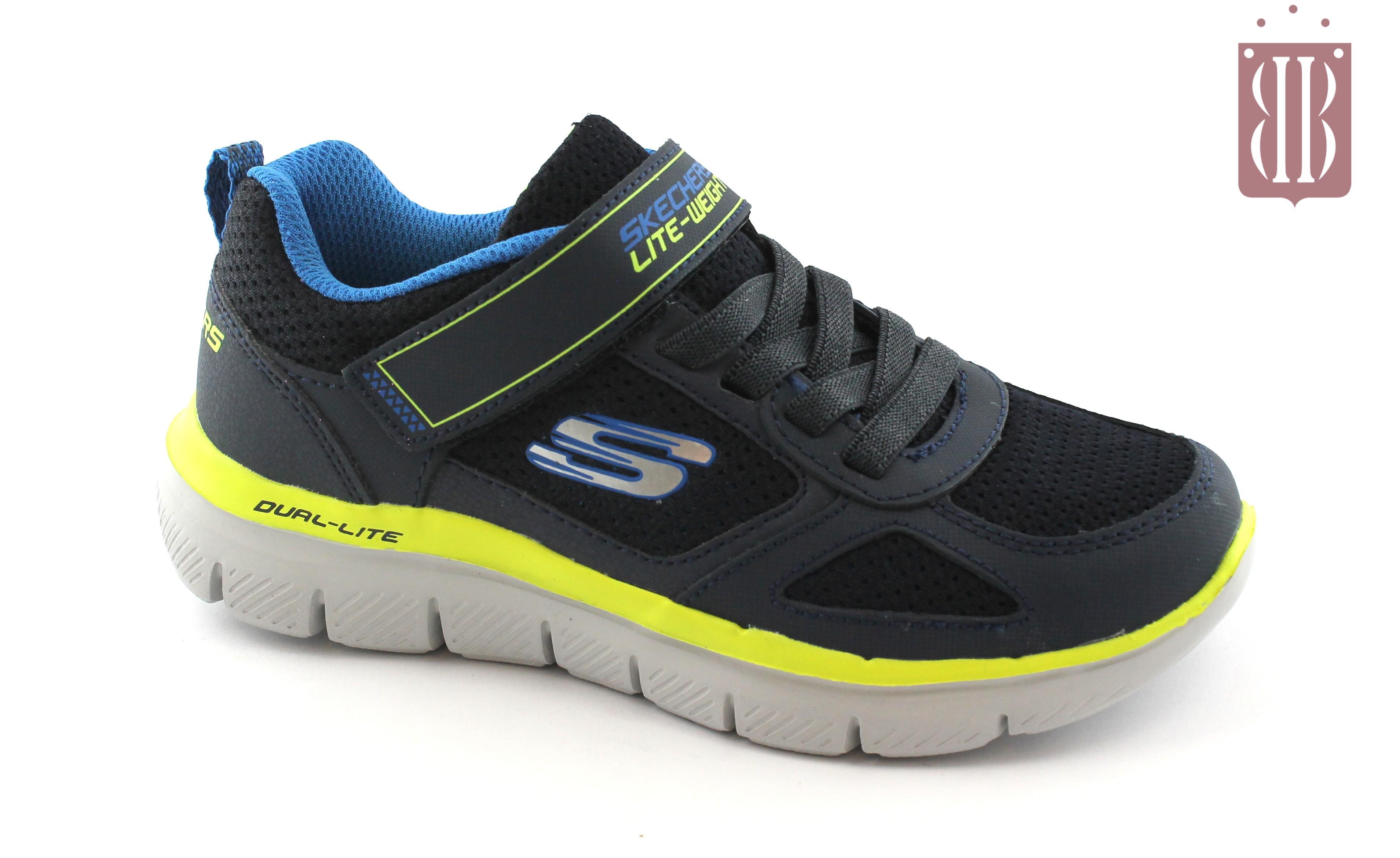 Bambino Navylime Scarpe Memory Blu Skechers 97451l Strappi