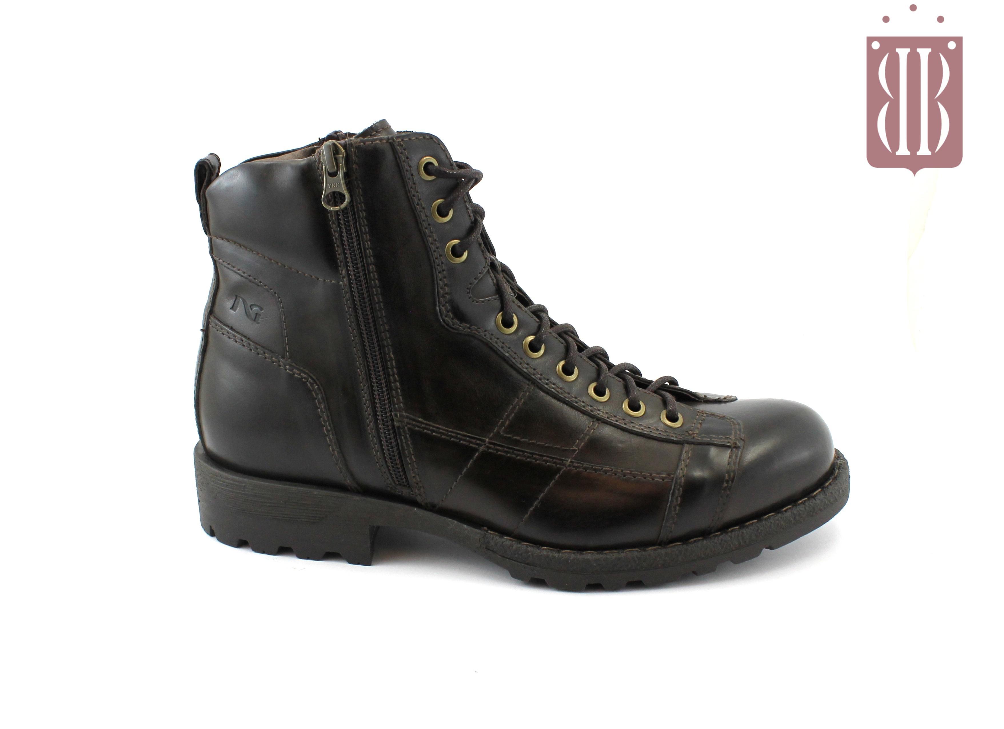 marchi riconosciuti vendita calda reale migliore vendita NERO GIARDINI 640 t. moro scarpe uomo stivaletti scarponcini tipo anfibio  zip lacci
