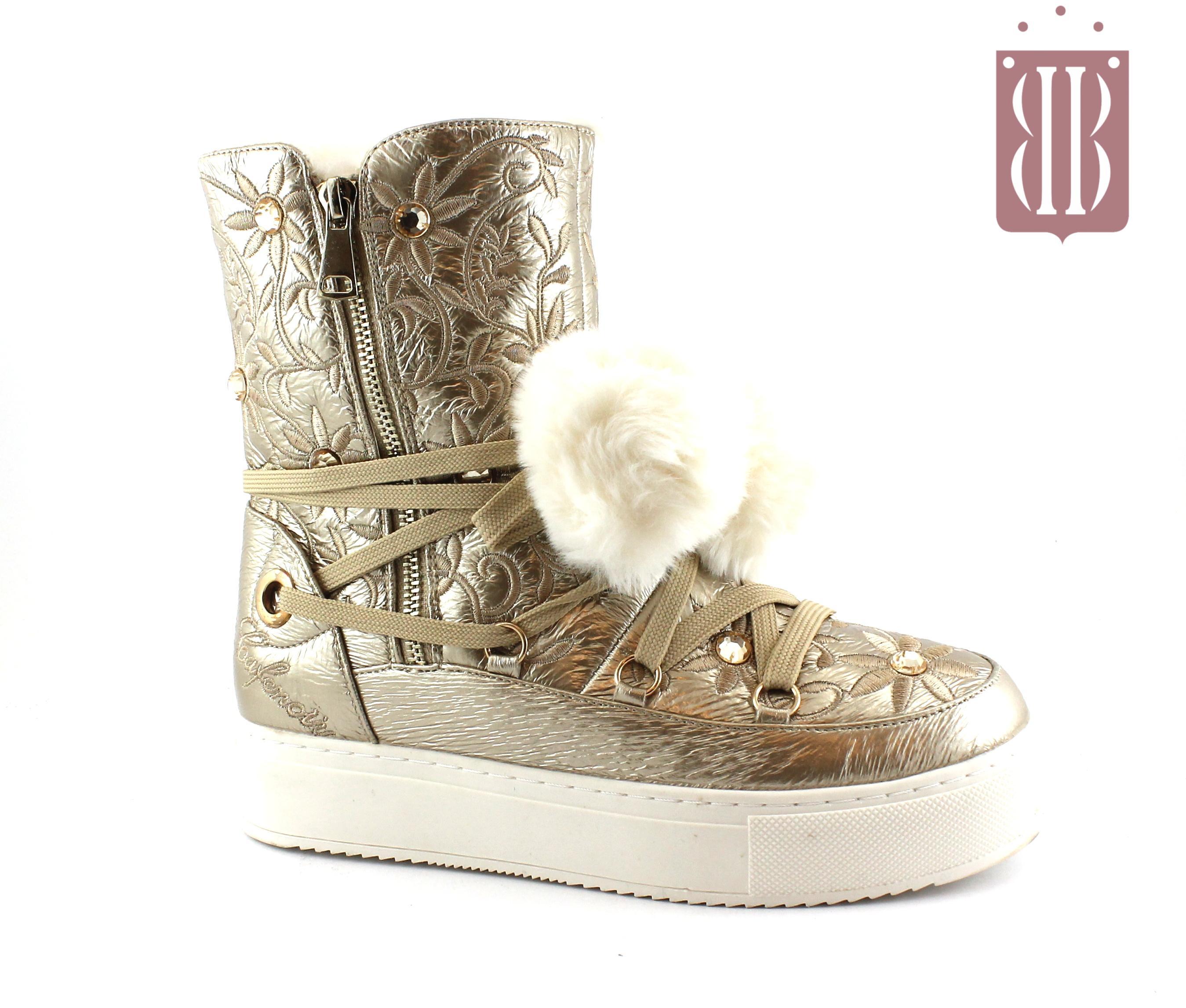 CAFè NOIR FB921 platino oro scarpe donna scarponcini zip pom pon