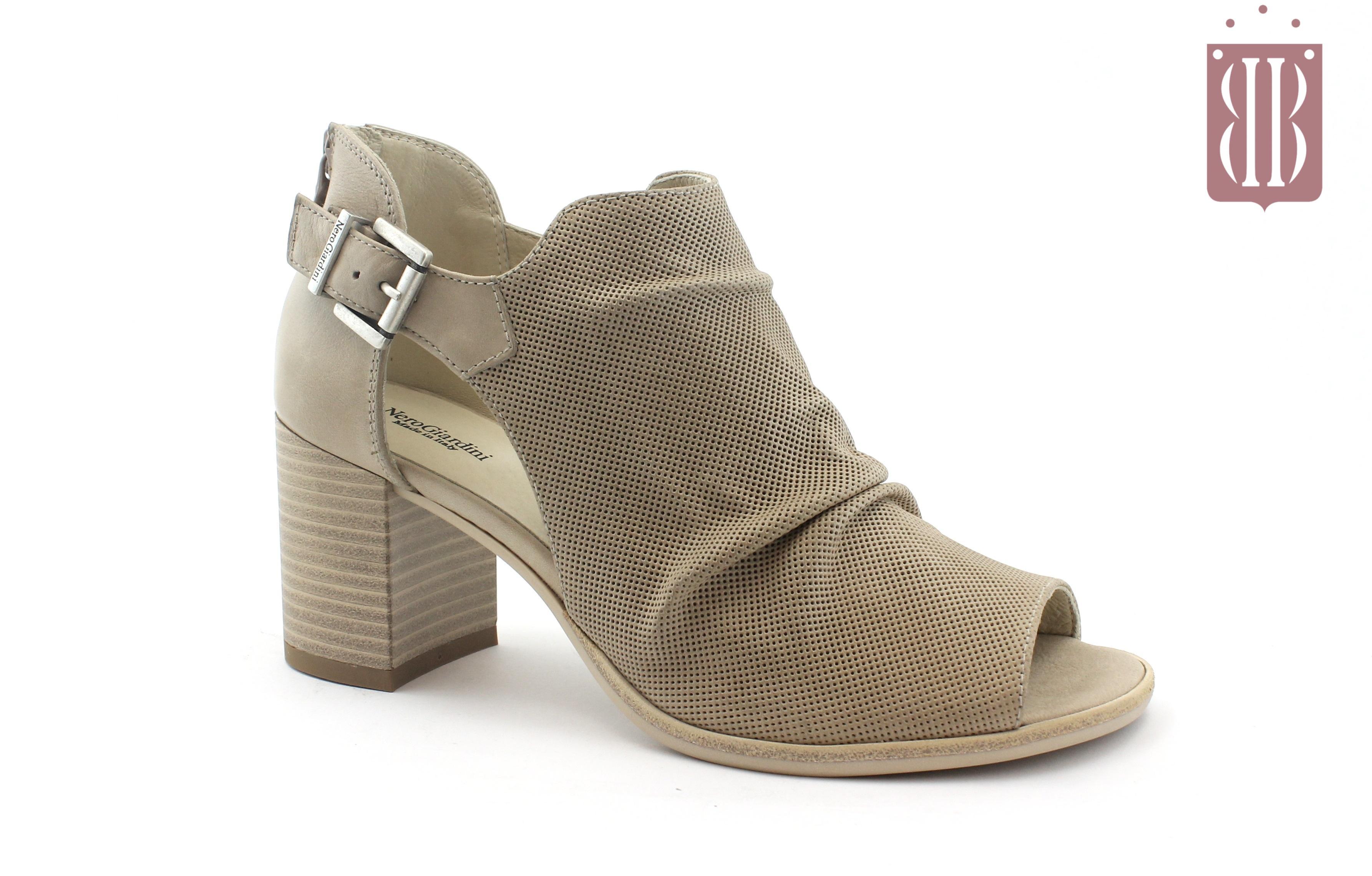 0b4d1f179a NERO GIARDINI 7642 champagne scarpe donna sandalo zip tallone spuntate  fibbia
