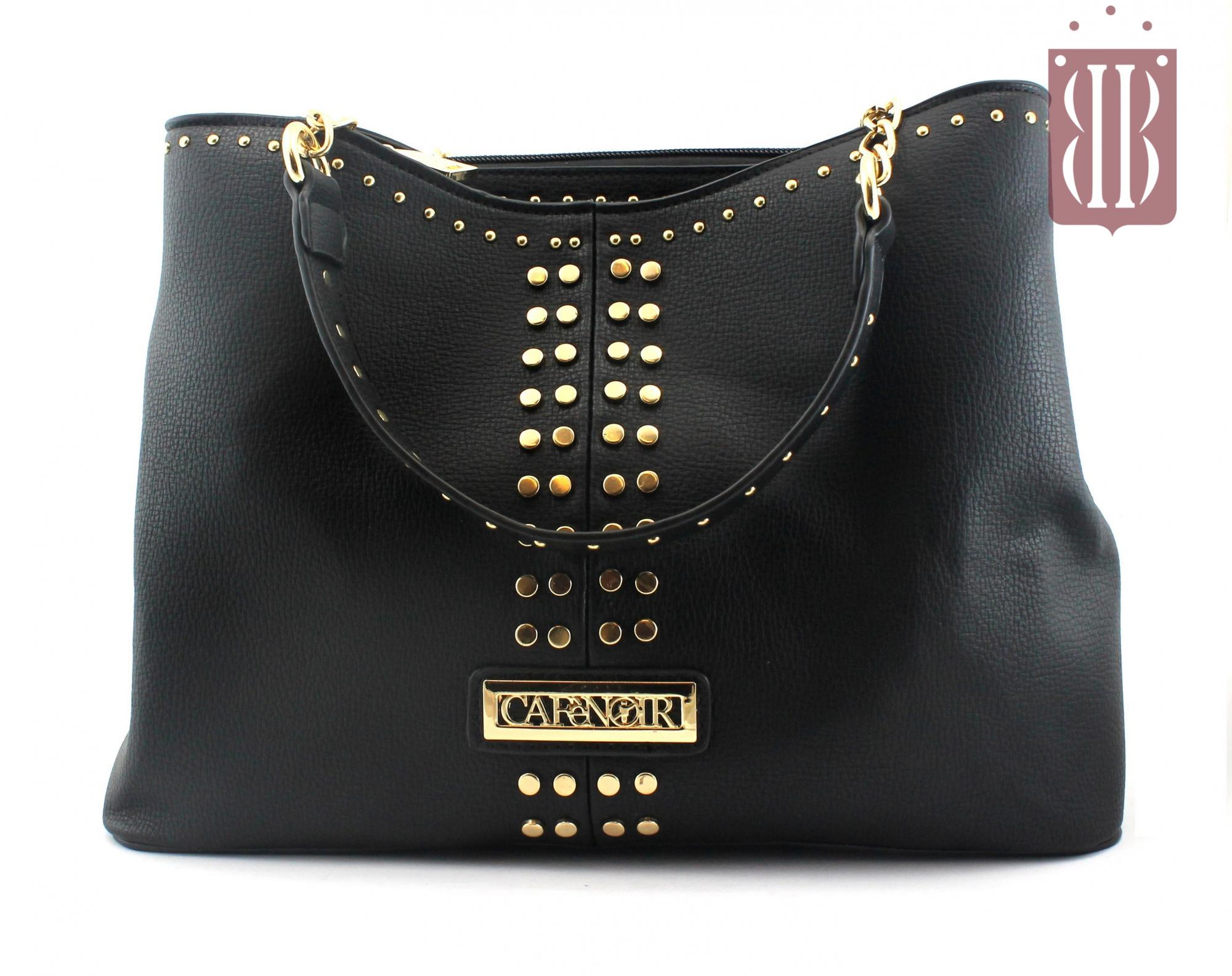 CAFè NOIR BZ162 nero borsa donna shopping manici catenelle micro borchie