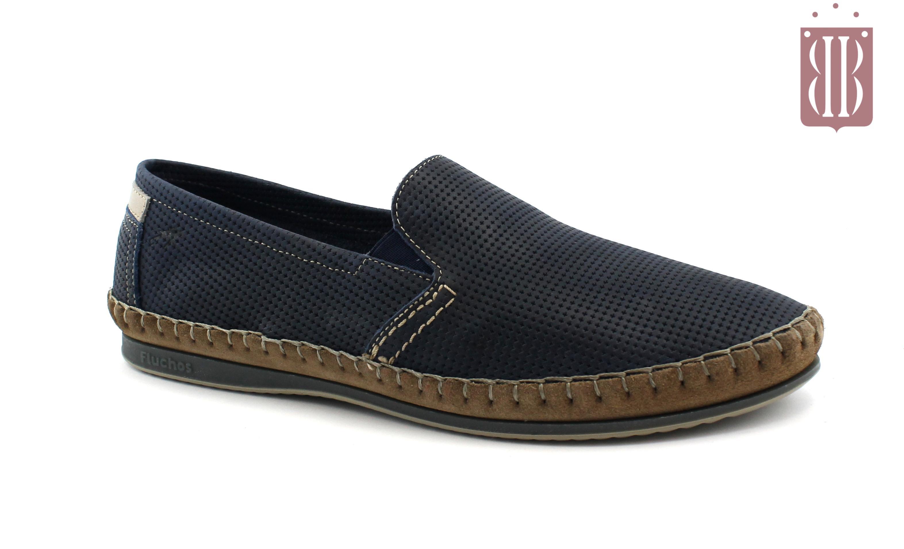 bad65244 FLUCHOS 8674 ocean blu scarpe uomo pelle slip on light