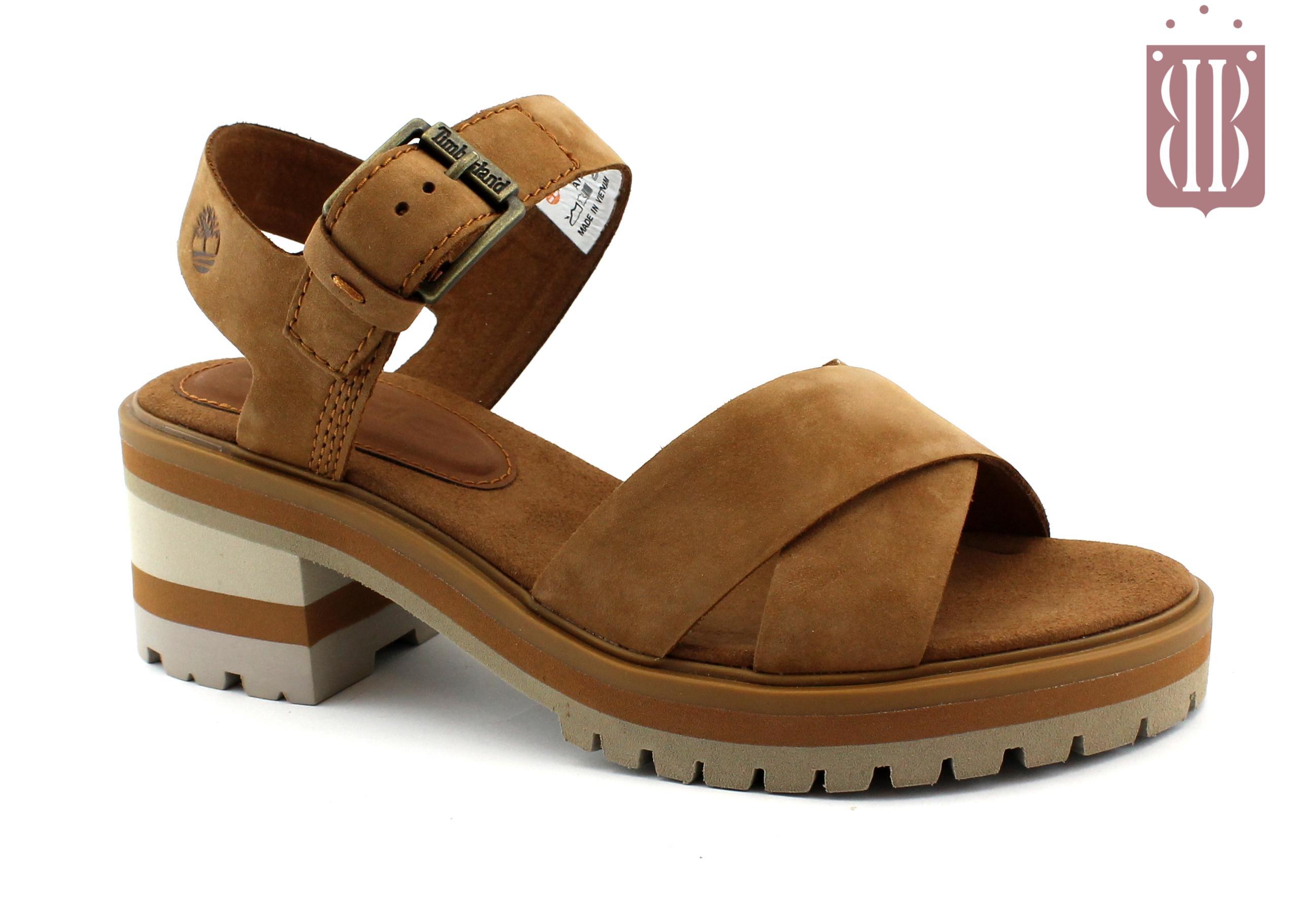 TIMBERLAND VIOLET MARSH 0A1SN2 rust cuoio scarpe donna sandali fibbia tacco pelle nubuck