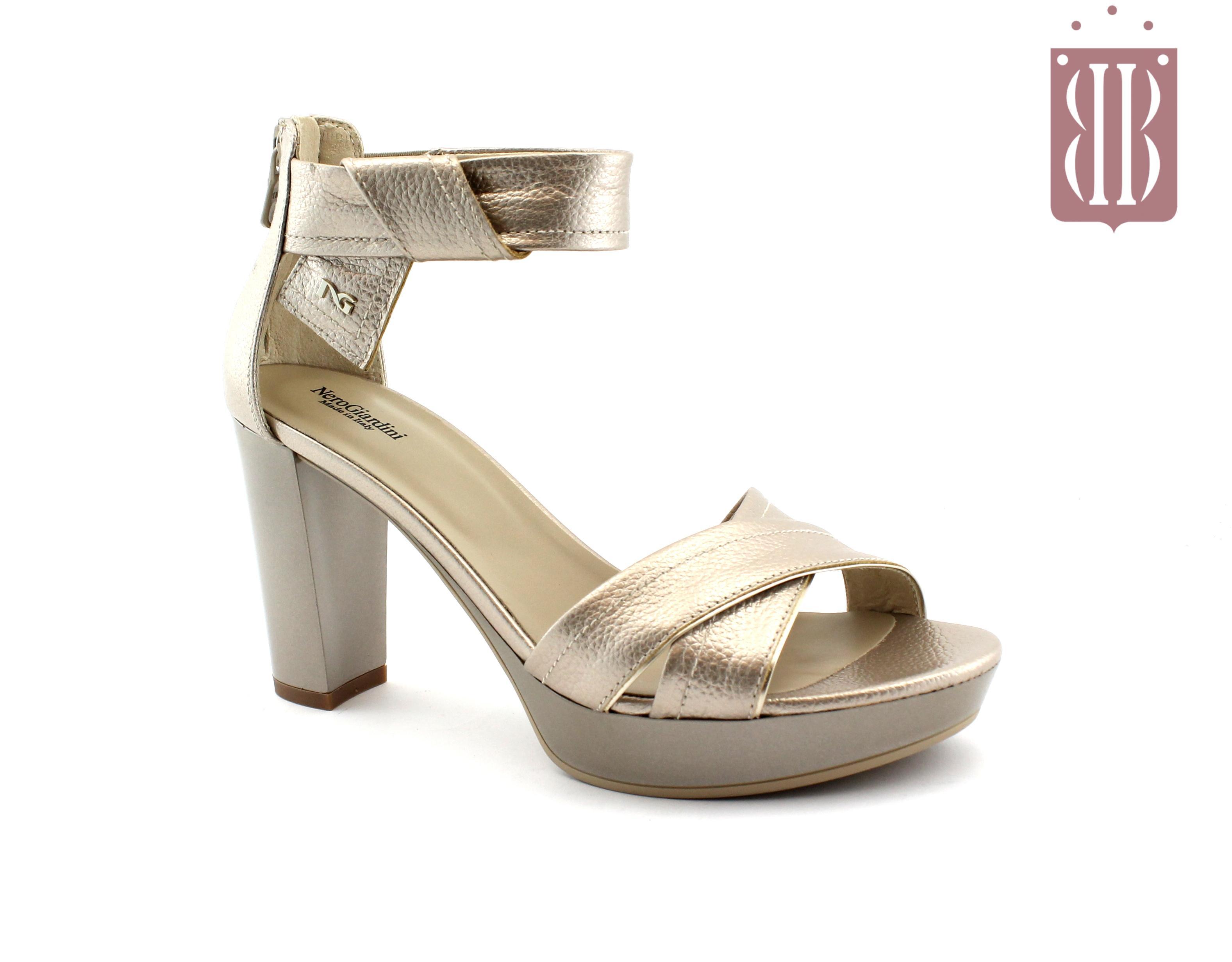 01aac8fe7e NERO GIARDINI 8080 marte nut beige scarpe donna sandali tacco spuntate,  cinturino zip tallone