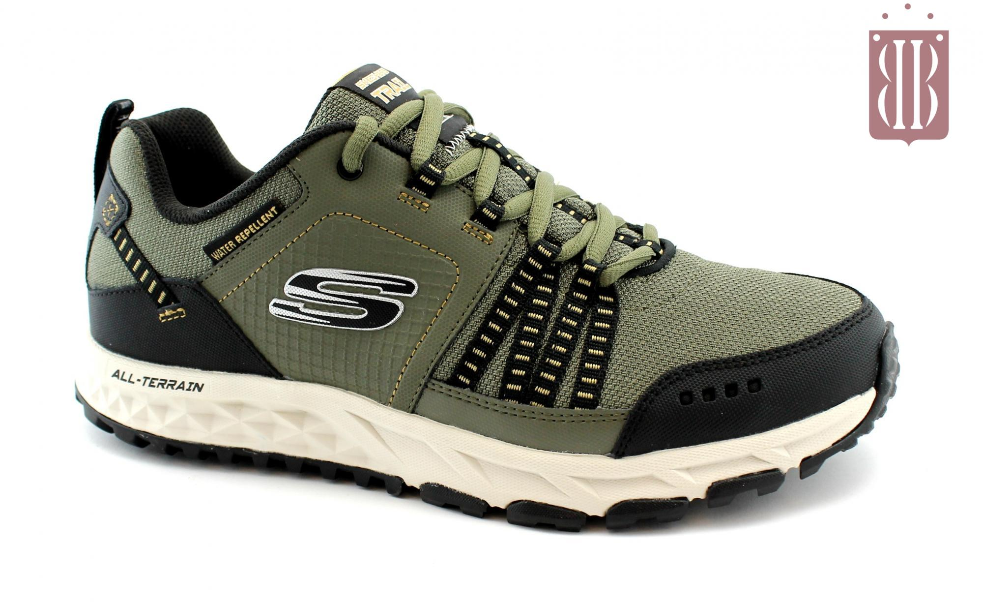 SKECHERS 51591 ESCAPE PLAN olive black verde oliva scarpe uomo sport trail memory foam lacci