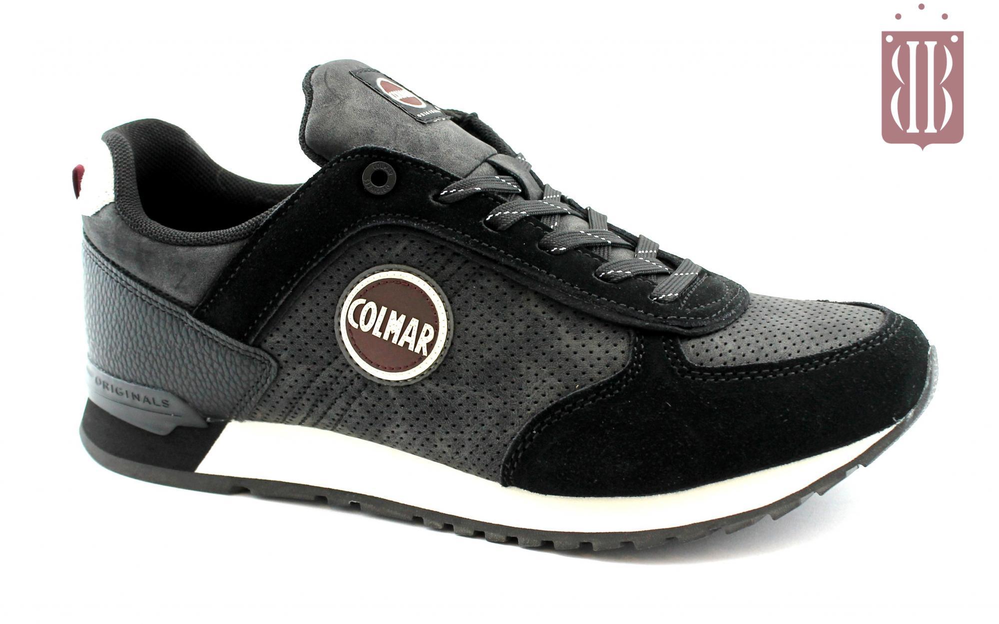 COLMAR TRAVIS DRILL black nero scarpe uomo sneakers lacci pelle