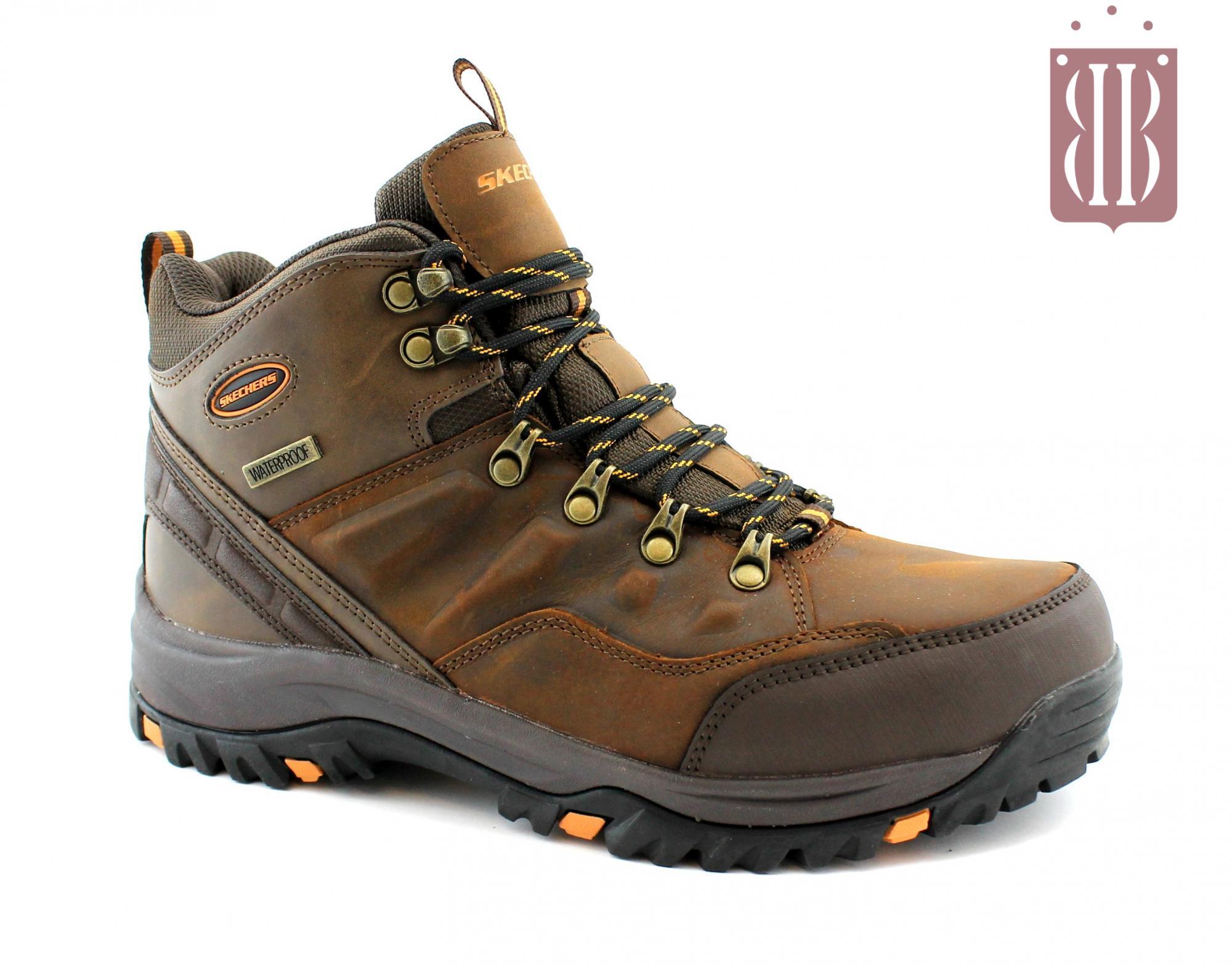SKECHERS 65529 RELMENT TRAVEN dark brown marrone scarponcini uomo trail trekking memory foam lacci