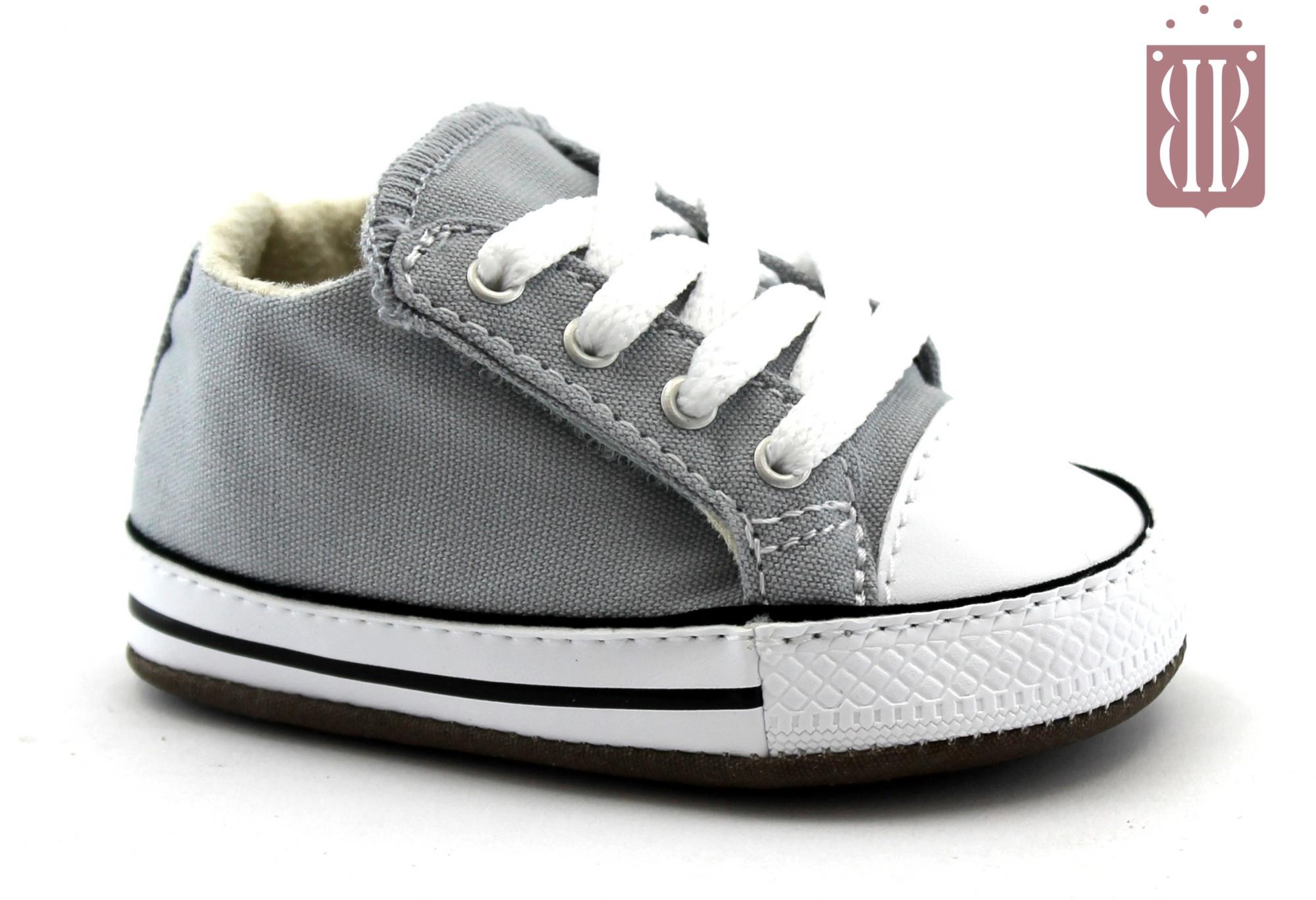CONVERSE 865159C CHUCK TAYLOR grey grigio scarpe snakers bambino culla all star mid lacci