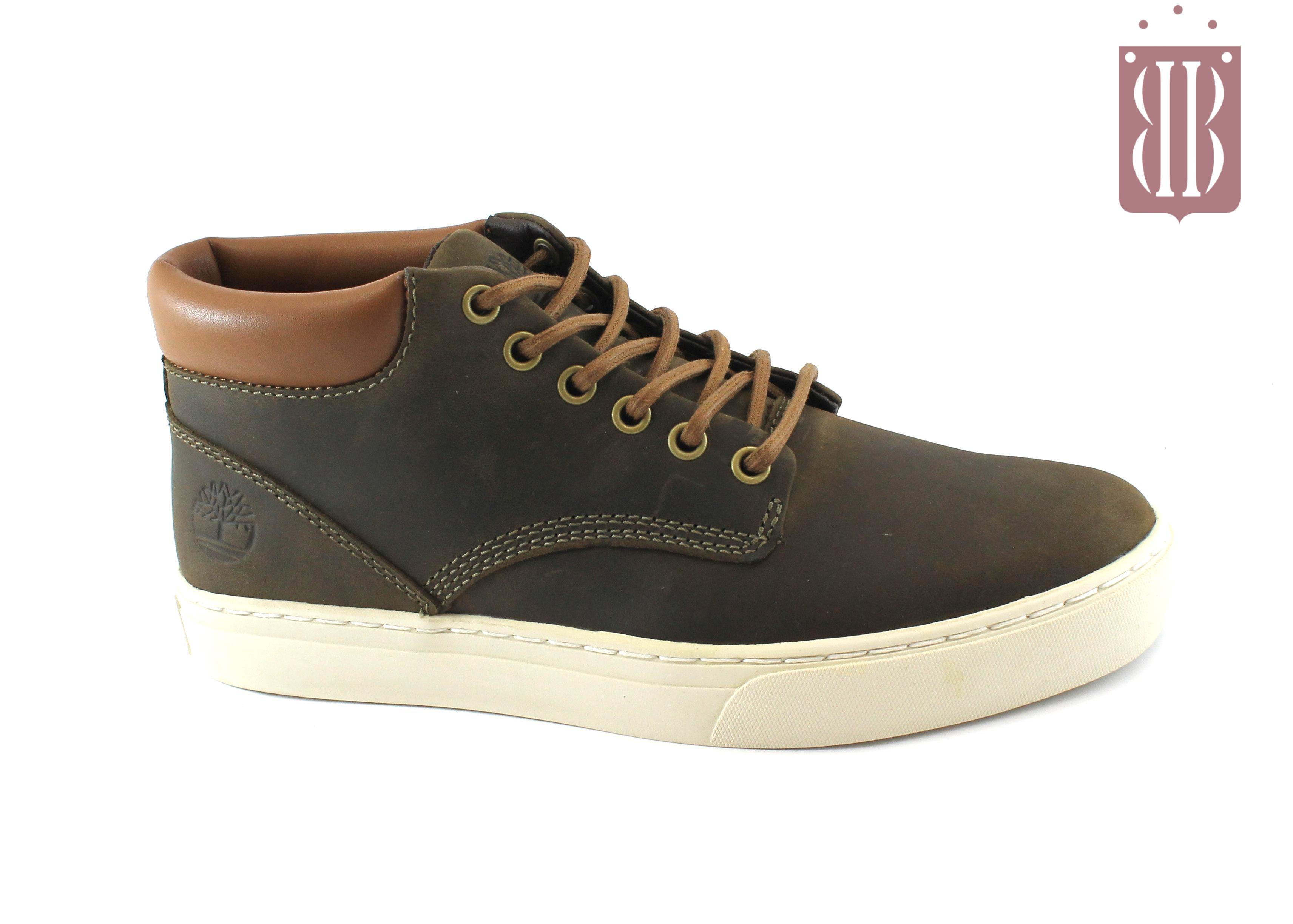 il più votato genuino retrò ordine TIMBERLAND A1JUC dark olive marrone scarpe sneakers uomo mid polacchino  liscio lacci
